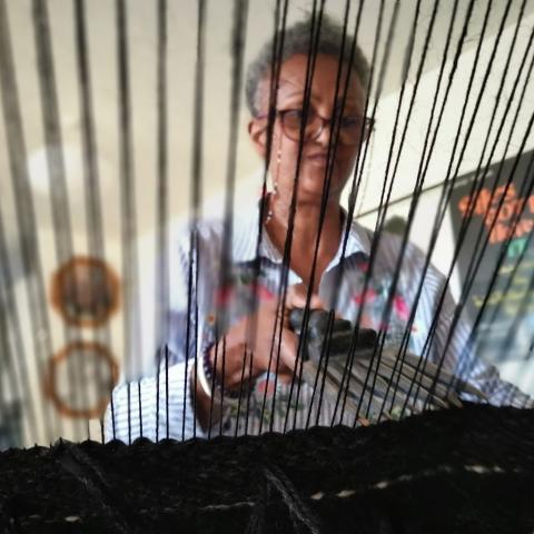 Joan weaving